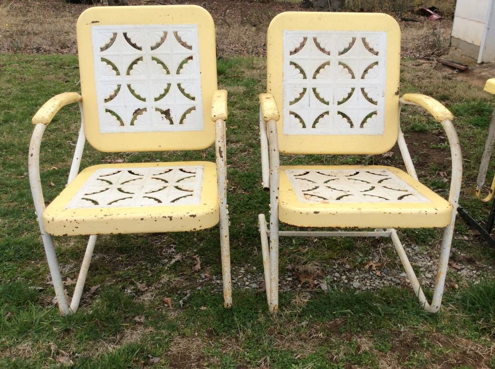 Pair of 1950's Metal Rocking Chairs