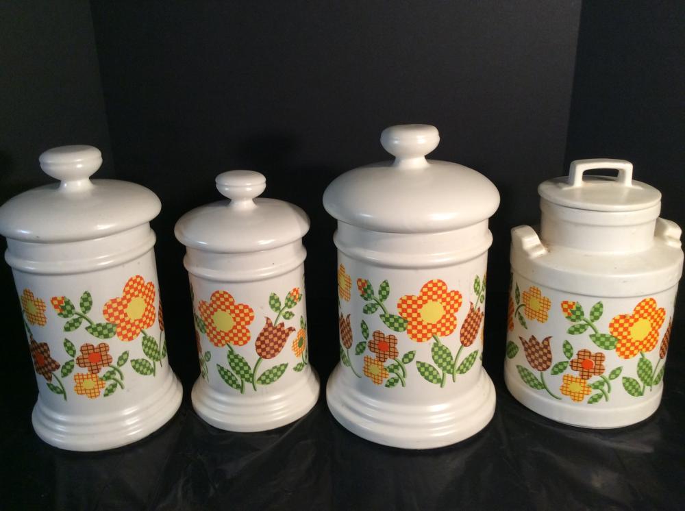 McCoy, Gingham Flower Pattern, 3 pc. Canister Set & Cookie Jar
