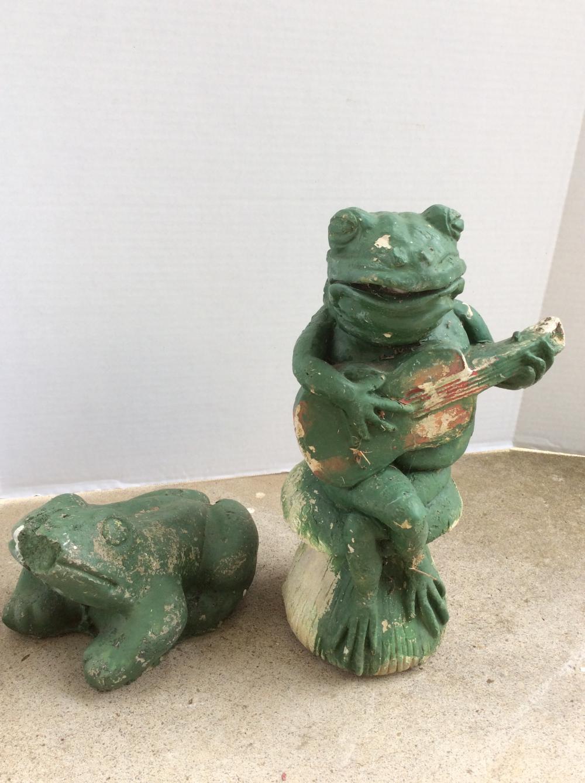 Vintage Concrete Statuary Frogs
