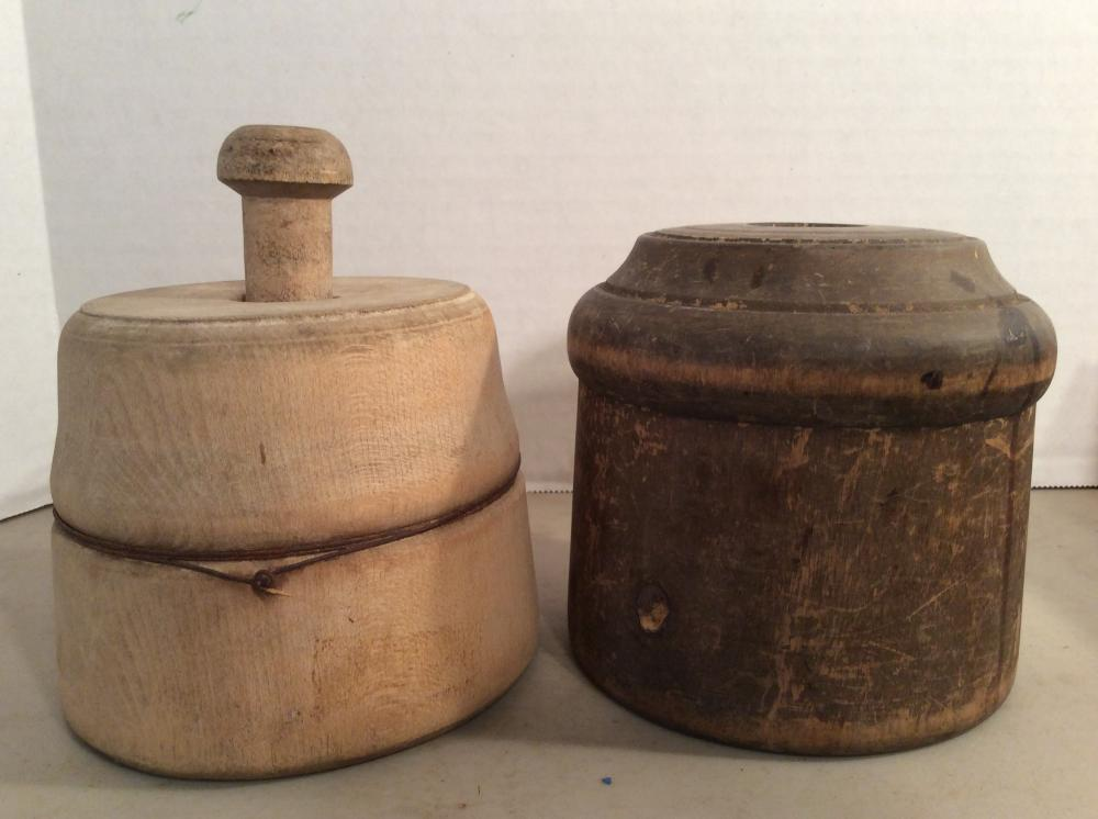 2 Antique Wood Butter Molds