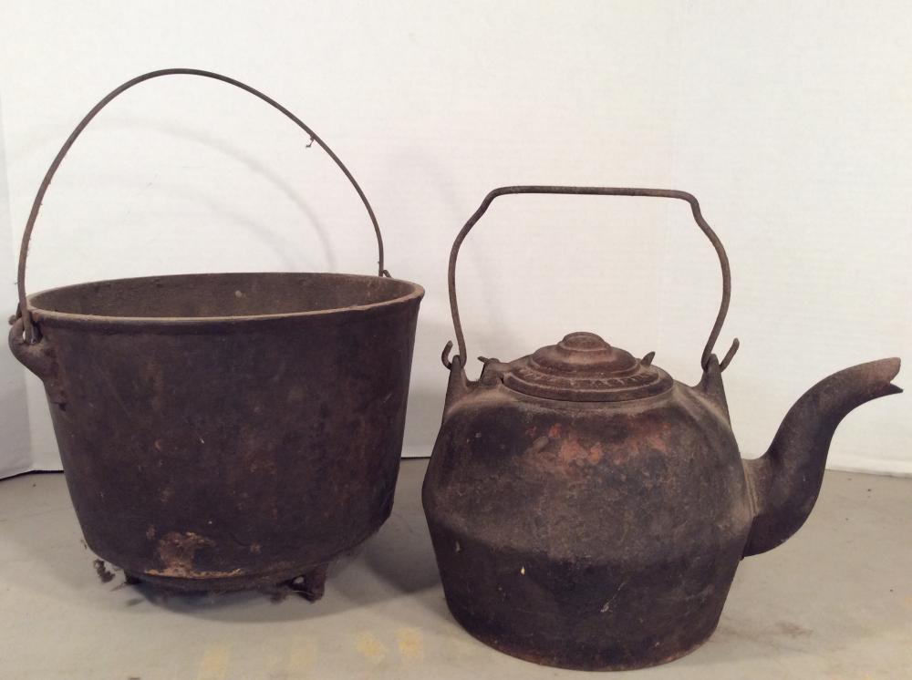 Antique Cast Iron Kettle & Bean Pot