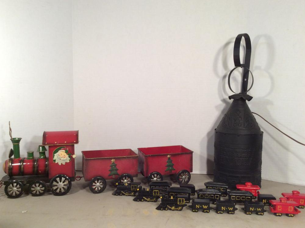 N & W Punch Tin Hanging Light and Decorative Train Sets