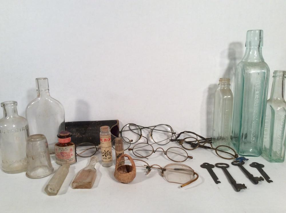 Antique Spectacles, Medicine Bottles, Skeleton Keys & Carved Acorn Basket