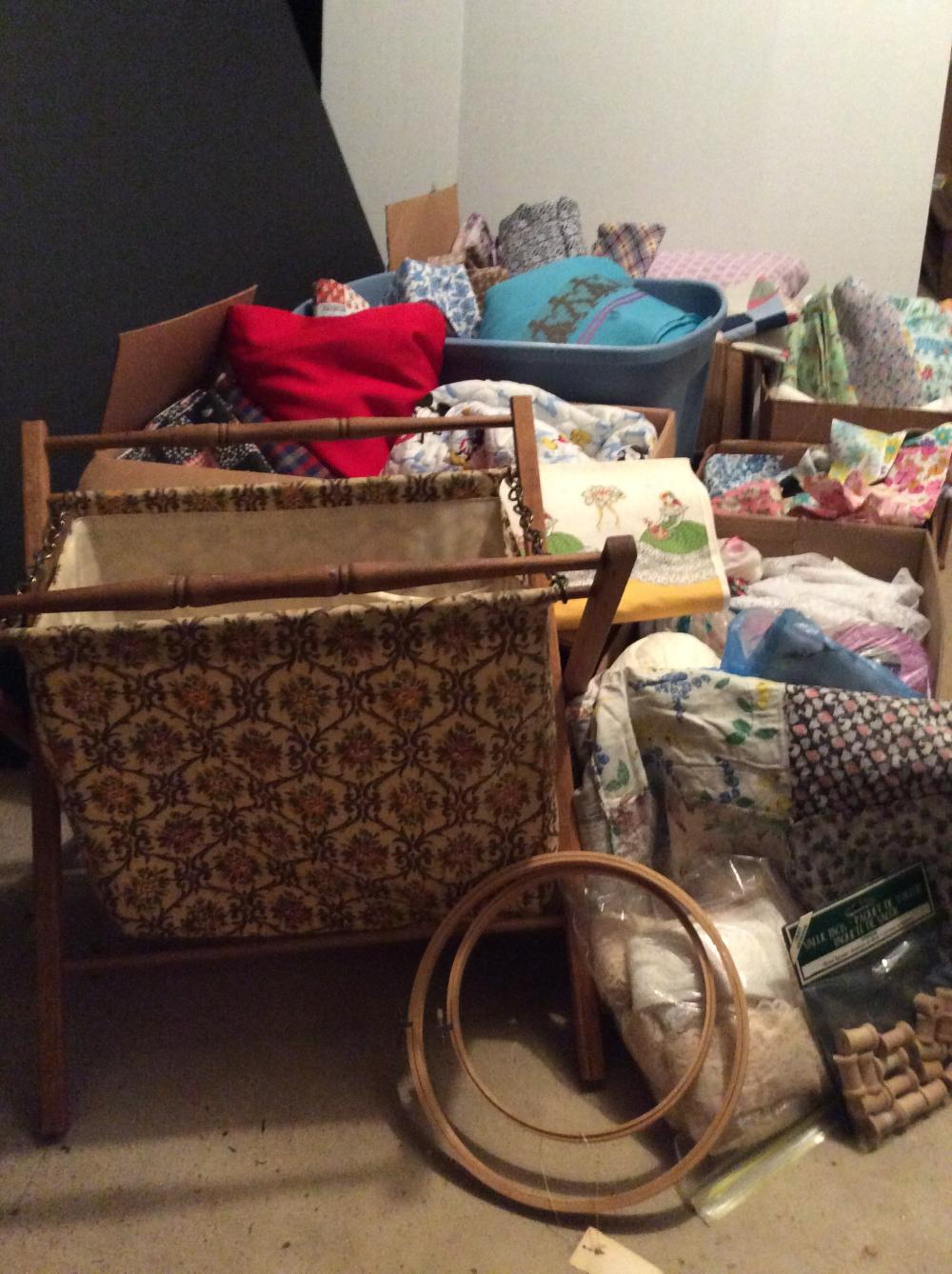 Wood Frame Sewing Caddy and Boxes of Vintage Fabric