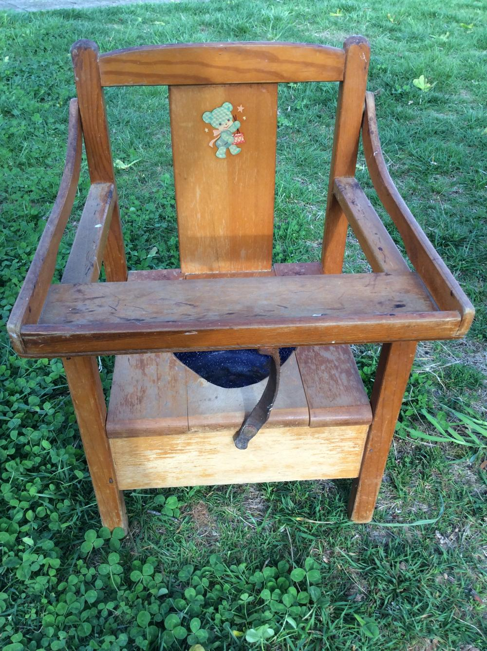 1950's Wood Child Baby Crib and Potty Chair