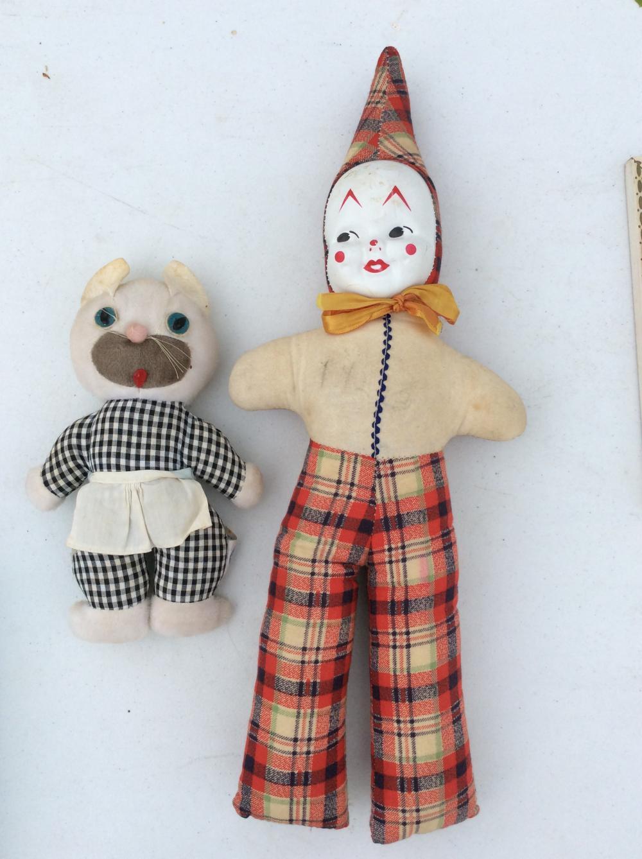 1960's Plush Dolls, Clown and Kitty