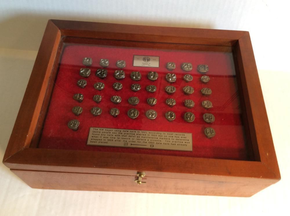 N & W Railroad Cross Tie Date Nails, 1921-1960, in Wood Presentation Box