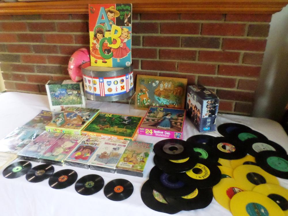 Assorted Items, Puzzles, Old ABC Book, VHS tapes, Records etc