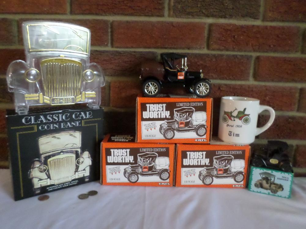 3 Trust Worthly 1918 Ford (2281) Barrel Banks #7, Classic Car Coin Bank, 1906 Ford Mug