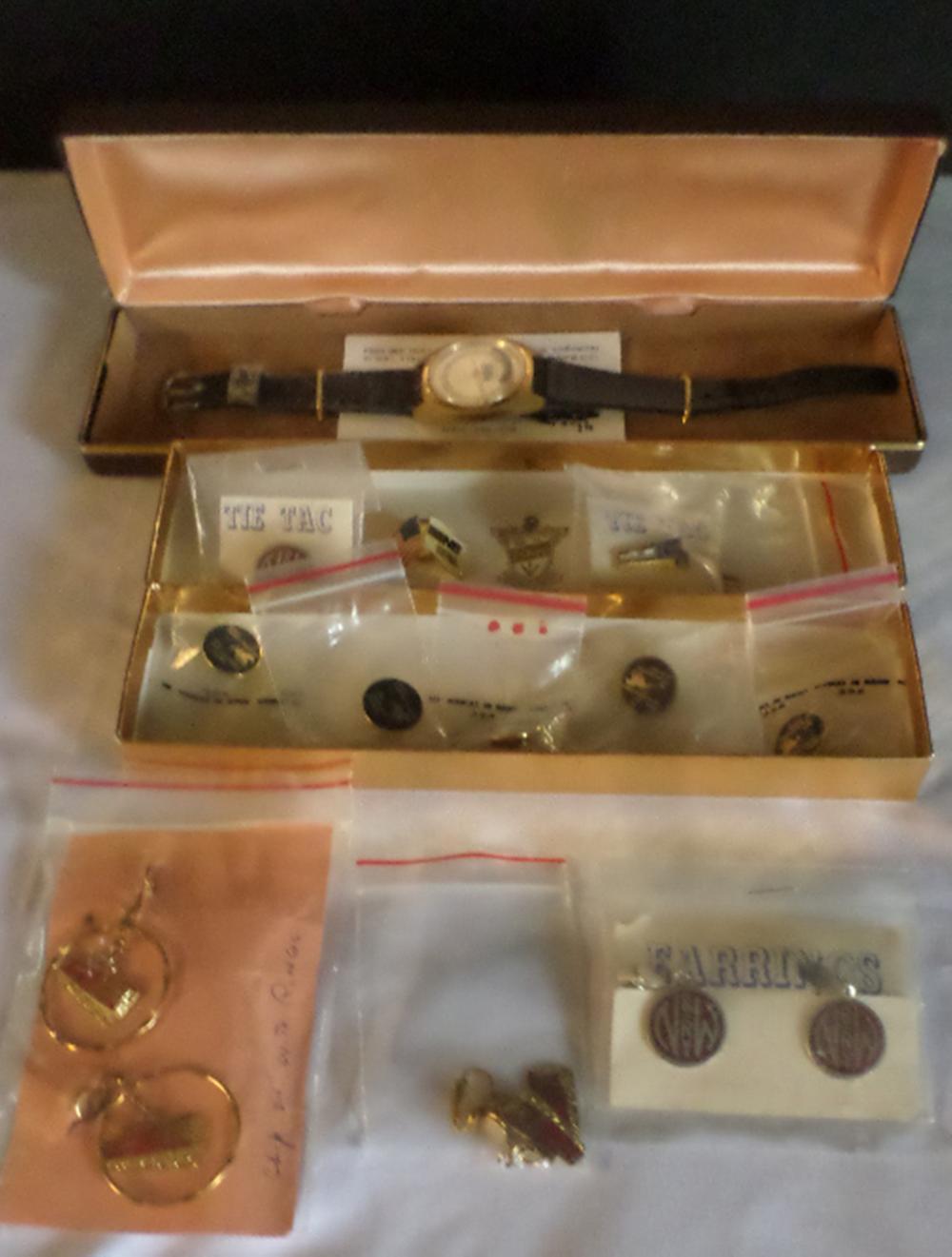 3 Pair N & W Earrings, N & W Watch /w Case, 5 Norfolk Southern pins, Assorted N & W Pins