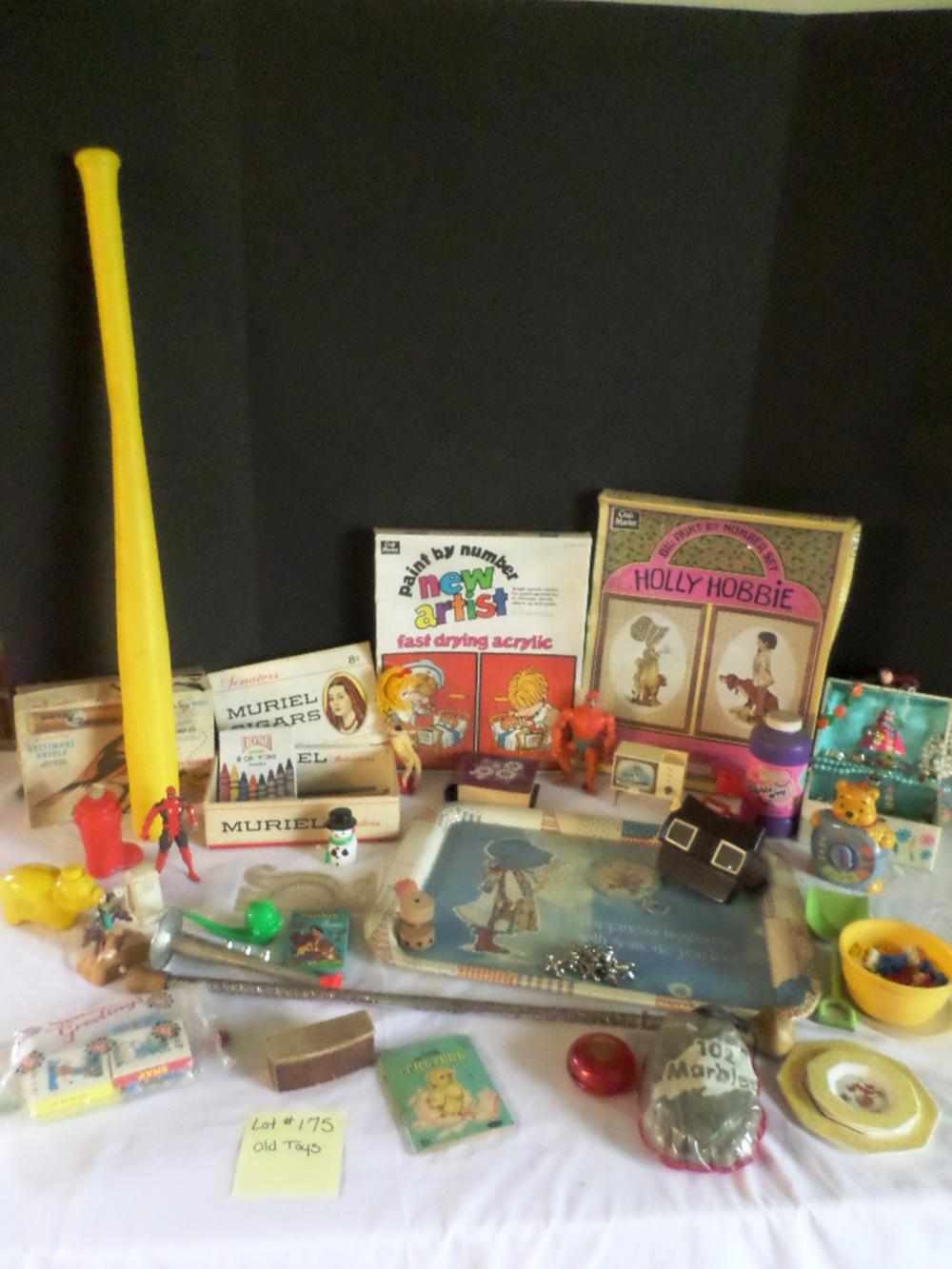 2 Unopened Paint-By-Number, Tray, Jewelry Box /w Costume Jewelry, Old Toys, Marbles
