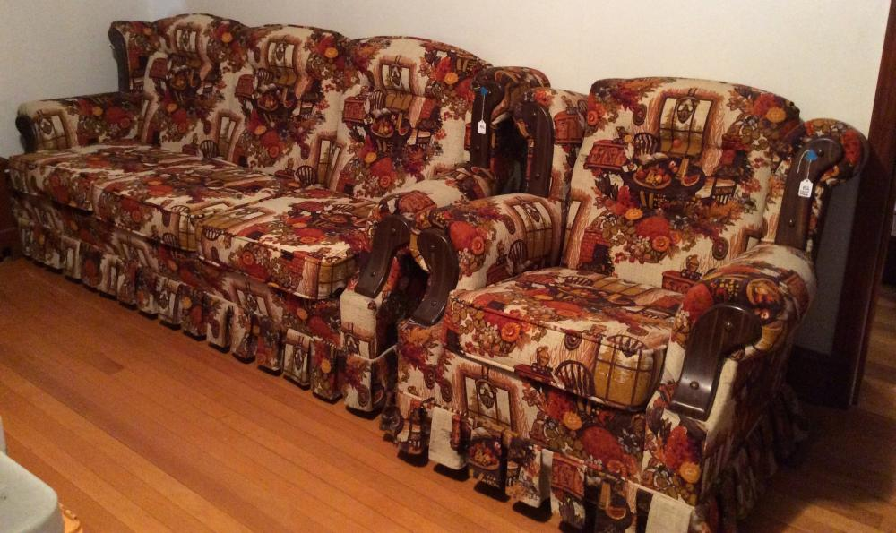Brookwood Furniture Living Room Set. Couch & Swivel / Rocking Chair