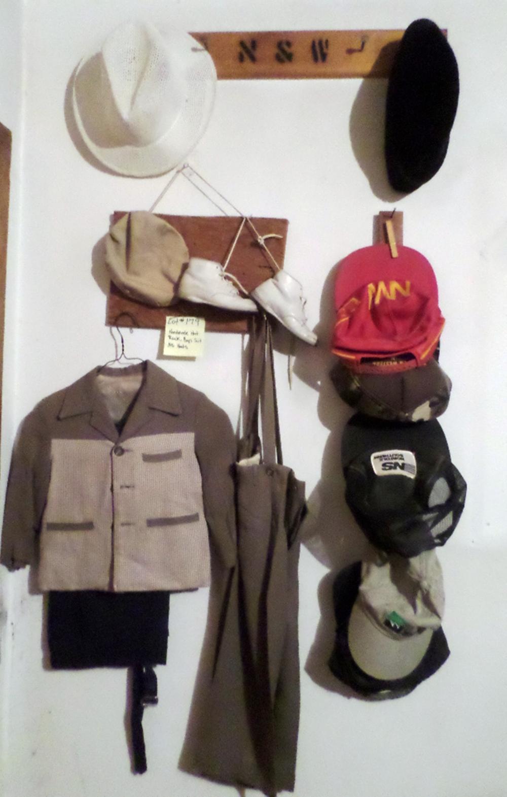 3 Handmade Wood Hat Racks and Boys Suit Set
