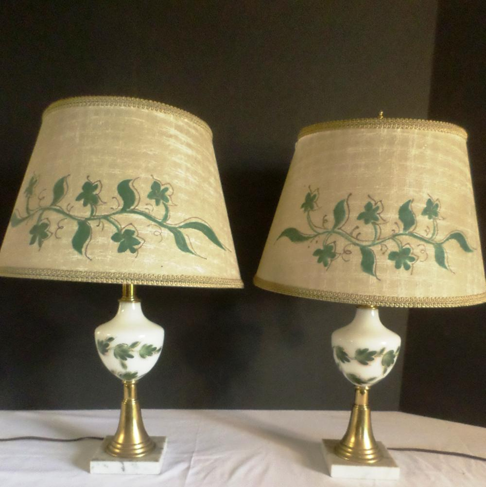 2 Lamps /w Leaves /w Marble Bottoms