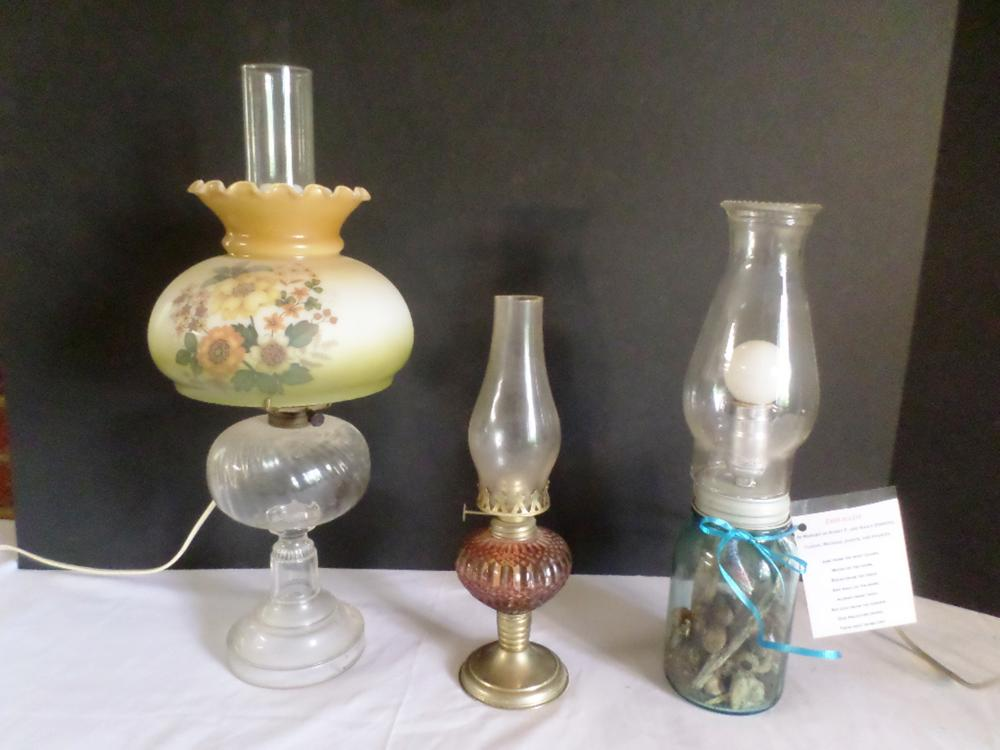 2 Lamps (1 Personalized 1 Hurricane) 1 Oil lamp