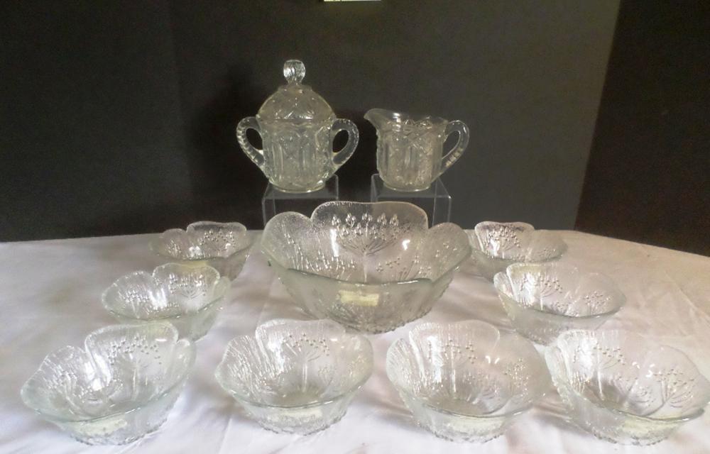 Glass Salad Bowl /w 8 Serving Bowls. Crystal Sugar and Creamer Dish