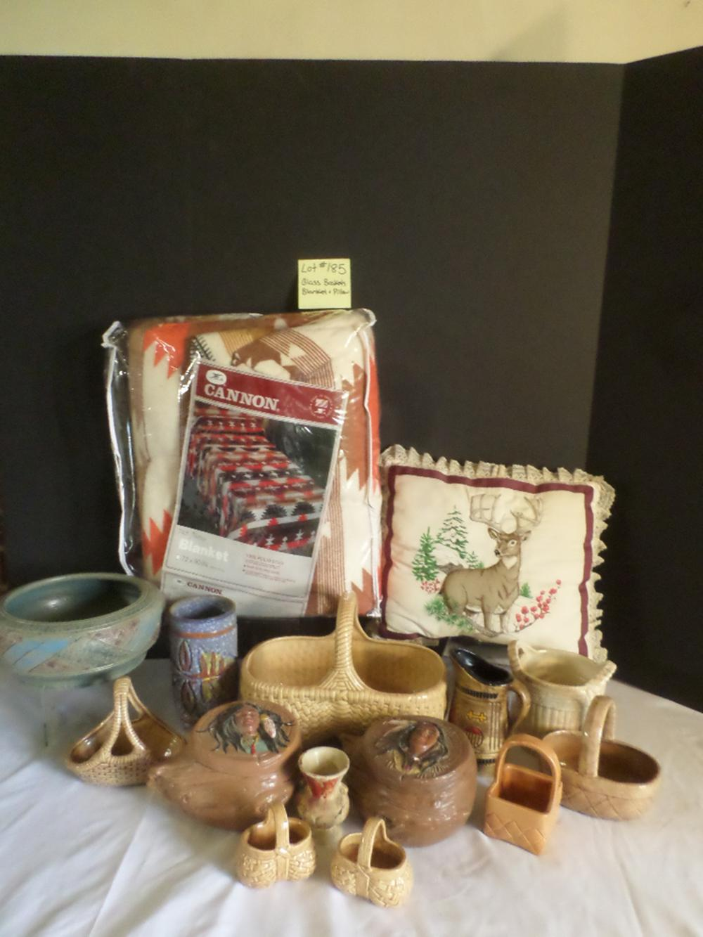 Glass Baskets and Pottery, Navajo Cannon Blanket, 2 Indian Baskets, Deer Pillow