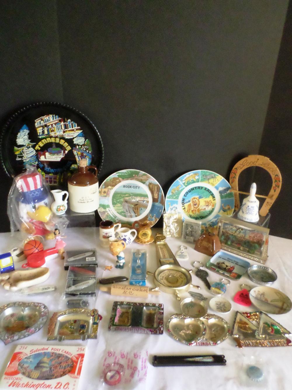 Uncle Sam Stuffed Eagle, Nashville Pocket Knife, Assorted Travel Memorabilia
