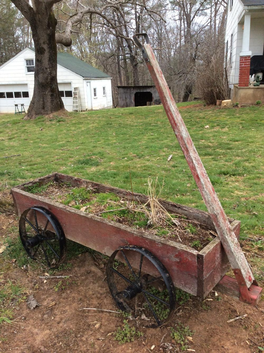 Antique Wood Wagon with Iron Wheels