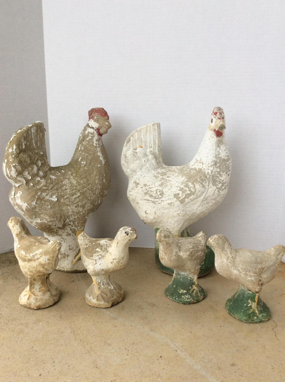 Concrete Yard Statues, Family of Chickens