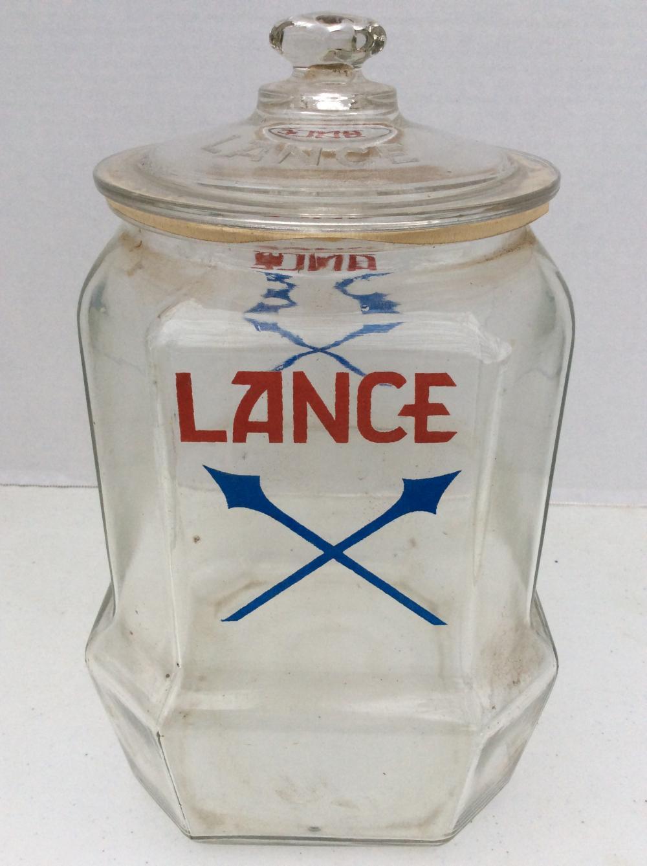 Antique Lance Glass Cracker Jar