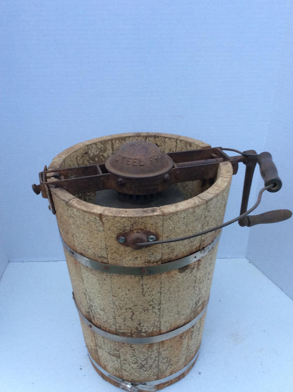 Antique Wood Ice Cream Churn /w Iron Crank
