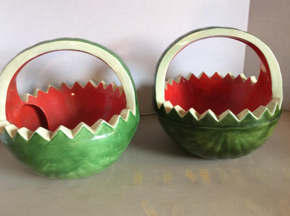 2 Watermelon Bowls /w Handle