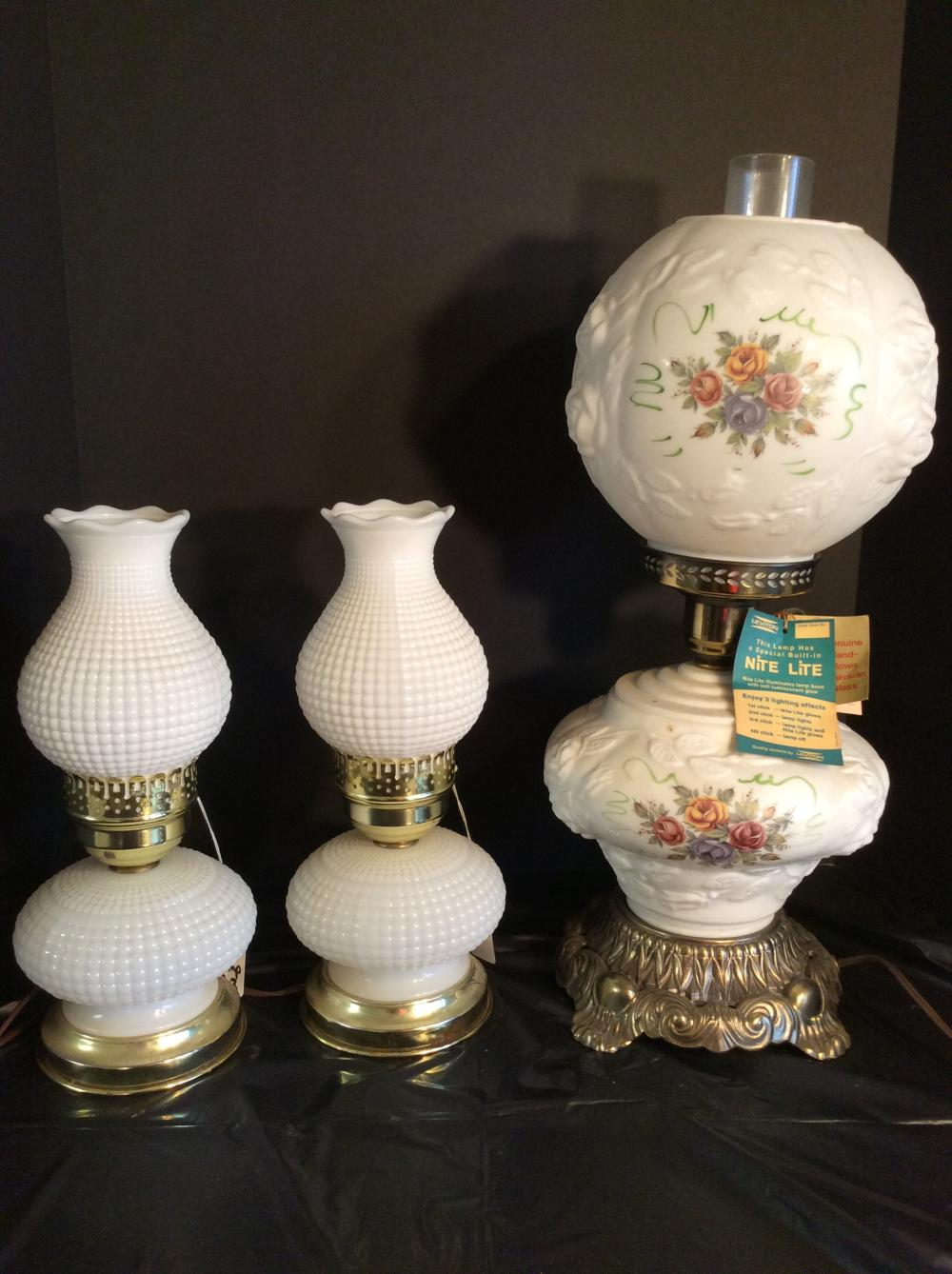 3 Table Lamps (1 Gone With the Wind, Pair of Milk Glass)