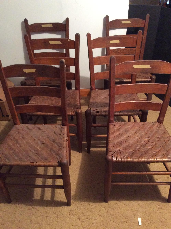 Set of 6 Antique Oak Wooden Chairs