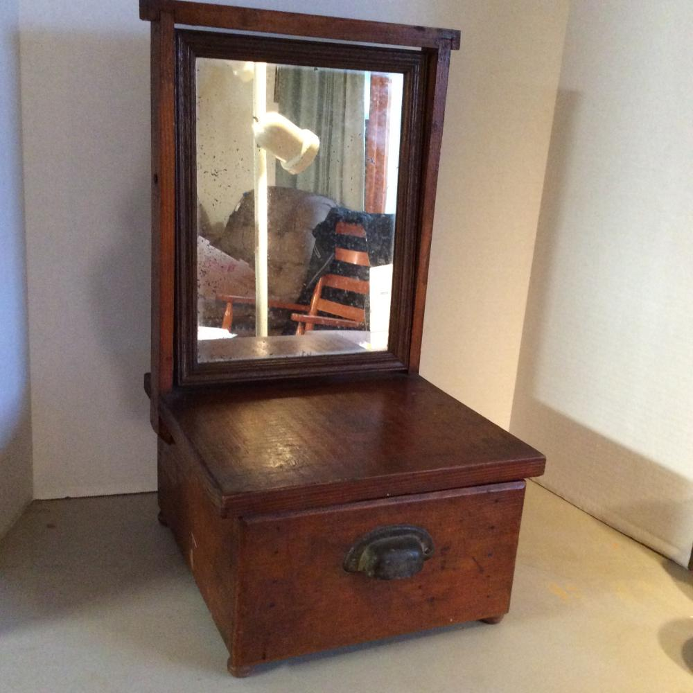 Antique Dresser Top, Wood Shave Mirror with Drawer