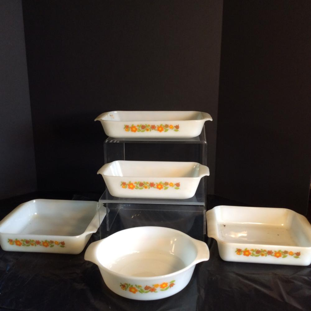 Fire King, Gingham Flower Baking Dishes (5 Total)