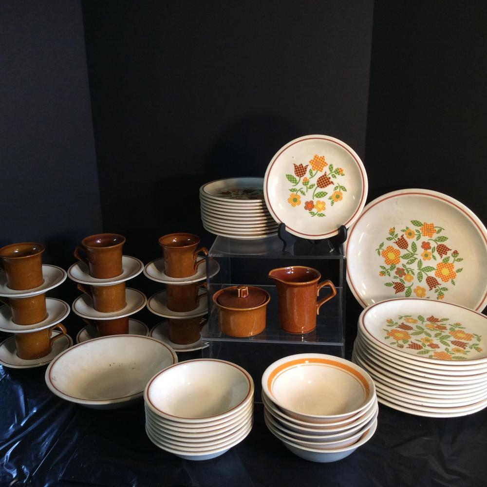 Taylor Ironstone Dinner Ware Set, Gingham Garden plus Other dishes