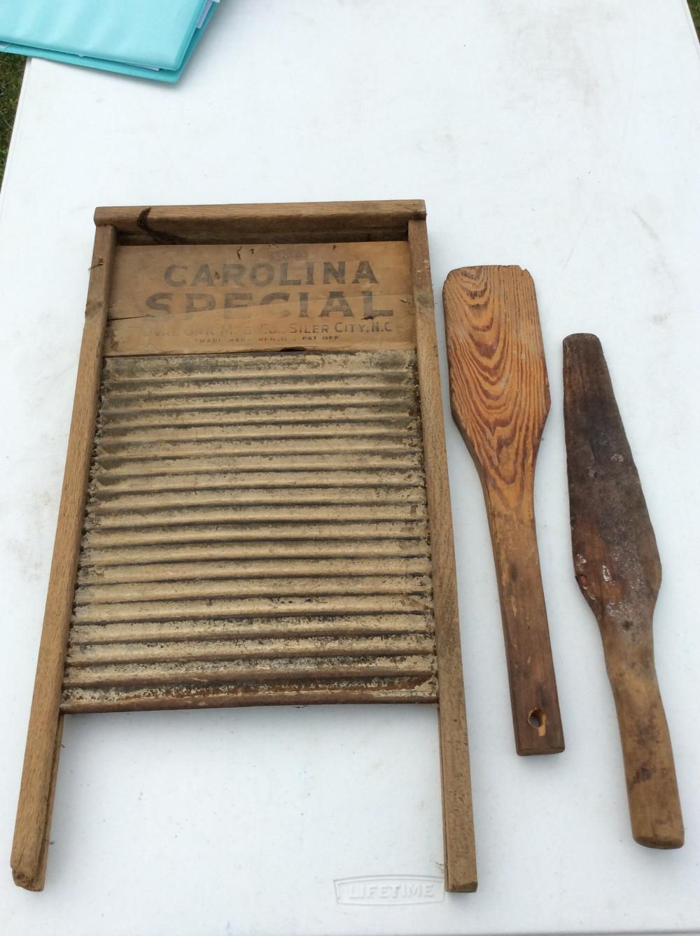 Antique Wood Laundry Paddles, Wash Board & Wood Clothes Pins