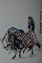 Huang Zhou ; Chinese Scroll Painting