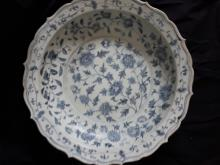 Chinese blue and white charger ; Ming marked