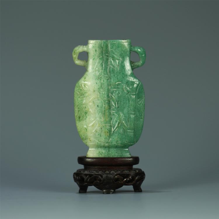 Chinese Jadeite Vase On Rosewood Stand