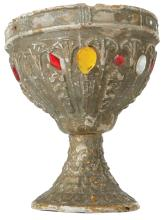 Cleopatra ornate (1) Egyptian goblet and (2) plates table props.