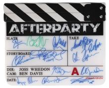 Avengers: Age of Ultron after party clapperboard with numerous cast signatures.