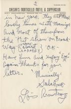 Louis Armstrong personally handwritten signed letter.
