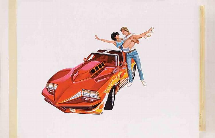 (2) Original poster art paintings for Corvette Summer.