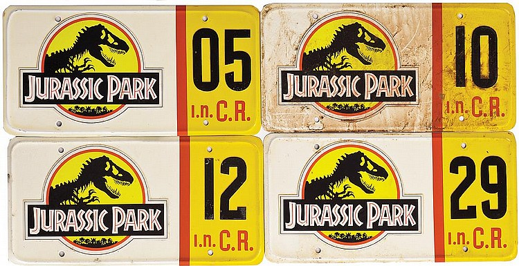 Captivating (4) Screen Used Jurassic Park License Plates.