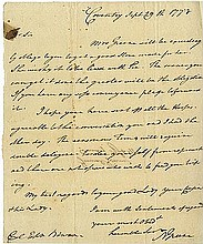 Greene, Nathanael. Autograph letter signed (