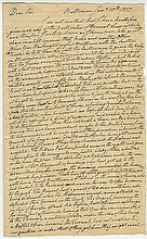 Lee, Richard Henry. Important autograph letter signed, 2 pages (13 ⅜ x 8 ¼ in.; 340 x 210 mm.).