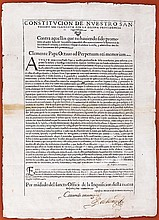 [Inquisition of Mexico and Florida]. Printed broadside signed, 1page (17 x 12 in.; 432 x 305 mm.).