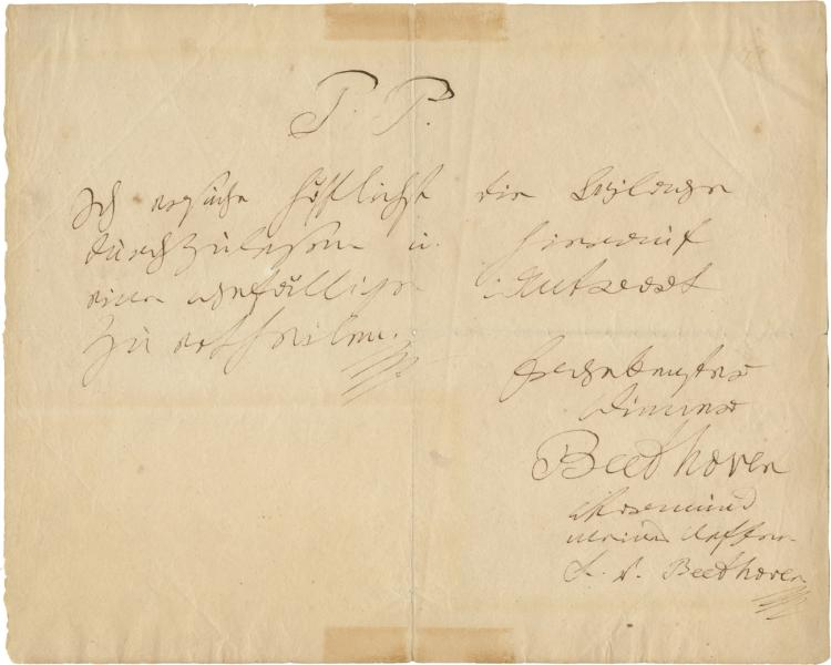 Beethoven Autograph Letter, twice signed, as