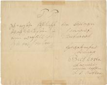Beethoven, Ludwig van.  Autograph letter signed twice.