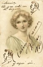 Caruso, Enrico.  Autograph postcard signed with two self-caricatures.