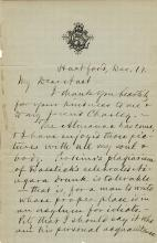 Clemens, Samuel L.  Autograph letter signed, 17 December.