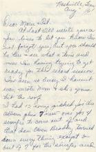 Cline, Patsy. Extensive archive of handwritten letters.