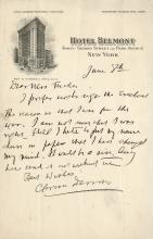 Darrow, Clarence.   Autograph letter signed.